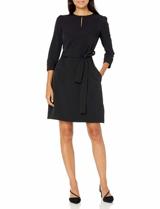 Lark & Ro Women's Florence Three Quarter Puff Sleeve Stitch Detail Belted Dress