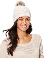 New York & Co. Lurex Cable-Knit Pom-Pom Hat