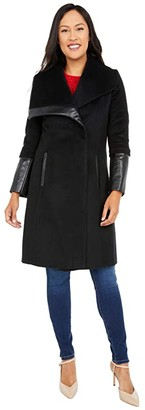 Via Spiga Wing Collar Asymmetrical Wool Coat (Black) Women's Clothing