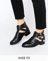 Asos ARABELLA Wide Fit Cut Out Leather Boots