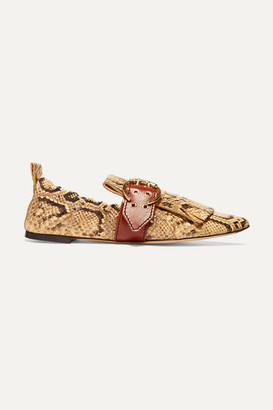 Chloé Snake-effect Leather Loafers - Snake print