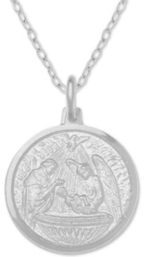"Giani Bernini Baptism Medallion 18"" Pendant Necklace in Sterling Silver"