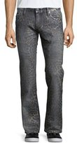 Robin's Jeans Faded Animal-Print Denim Jeans, Dark Gray