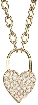 Zoë Chicco 14K Yellow Gold Diamond Heart Padlock Pendant Necklace