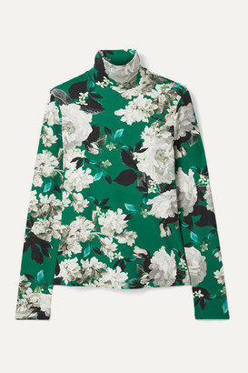 Erdem Kelly Floral-print Ribbed Stretch-jersey Turtleneck Top - Green