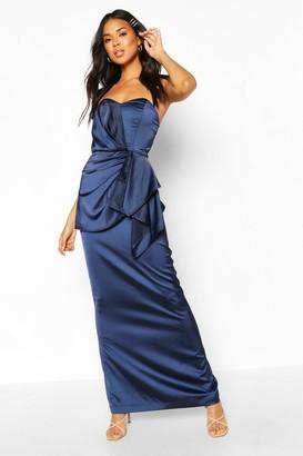 boohoo Bridesmaid Occasion Satin Pleated Maxi Dress