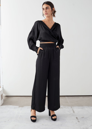 And other stories Satin Wide Leg Flowy Trousers