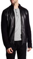 Vince Wool Leather Front Zip-Up Jacket