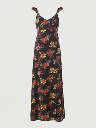 Very Open Back Chiffon Maxi Beach Dress - Tropical Print