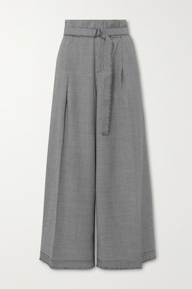 The R Collective + Net Sustain + Wen Pan Bermondsey Belted Cropped Houndstooth Wool Wide-leg Pants