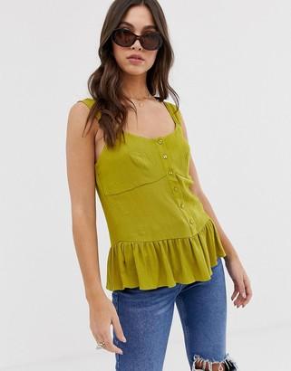 Asos Design DESIGN cami with peplum-Green