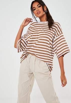 Missguided Camel Striped Drop Shoulder Oversized T Shirt