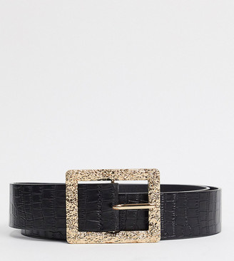 Glamorous Curve Exclusive faux croc waist and hip jeans belt in black