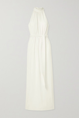 Halston Belted Stretch-jersey Gown - Ivory