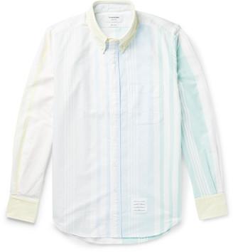 Thom Browne Fun Mix Button-Down Collar Striped Cotton Oxford Shirt