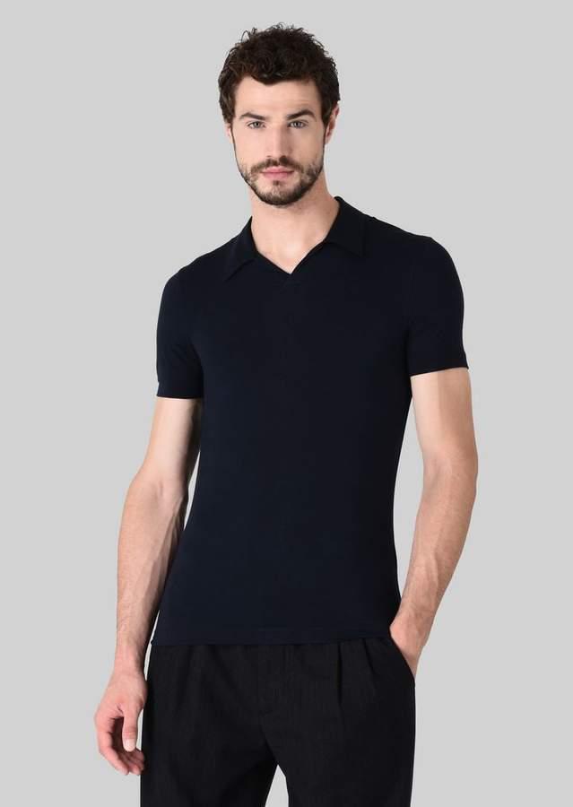 Giorgio Armani Stretch Viscose Jersey Polo T-Shirt