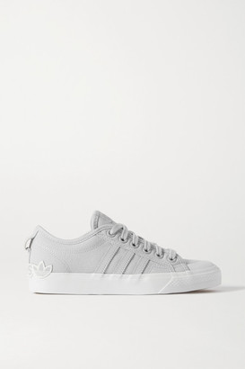 adidas Nizza Leather-trimmed Canvas Sneakers - Light gray