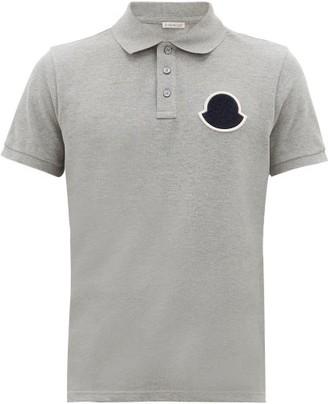 Moncler Logo-patch Cotton-pique Polo Shirt - Grey