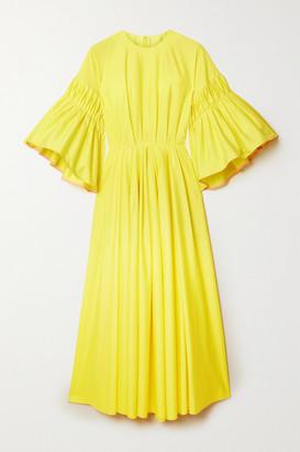 Roksanda Iosefina Gathered Cotton-poplin Midi Dress - Yellow