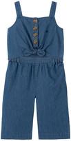 Calvin Klein Jeans Girls' Jumpsuits 1060 - Blue Denim Sleeveless Bow-Accent Jumpsuit - Toddler & Girls