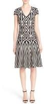 St. John Geometric Knit Fit & Flare Dress