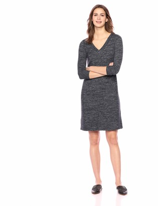 Daily Ritual Amazon Brand Women's Cozy Knit Half-Sleeve V-Neck Dress