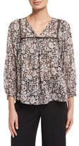Rebecca Taylor Lindsay 3/4-Sleeve Floral Silk-Blend Top, Black/Cameo Pink
