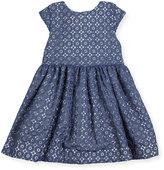 Kate Spade Kimberly Cap-Sleeve Smocked Medallion Lace Dress, Blue, Size 7-14