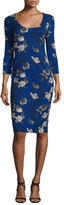 Prabal Gurung 3/4-Sleeve Floral-Print Sheath Dress