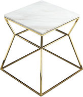 Pangea Geo Marble Side Table, White