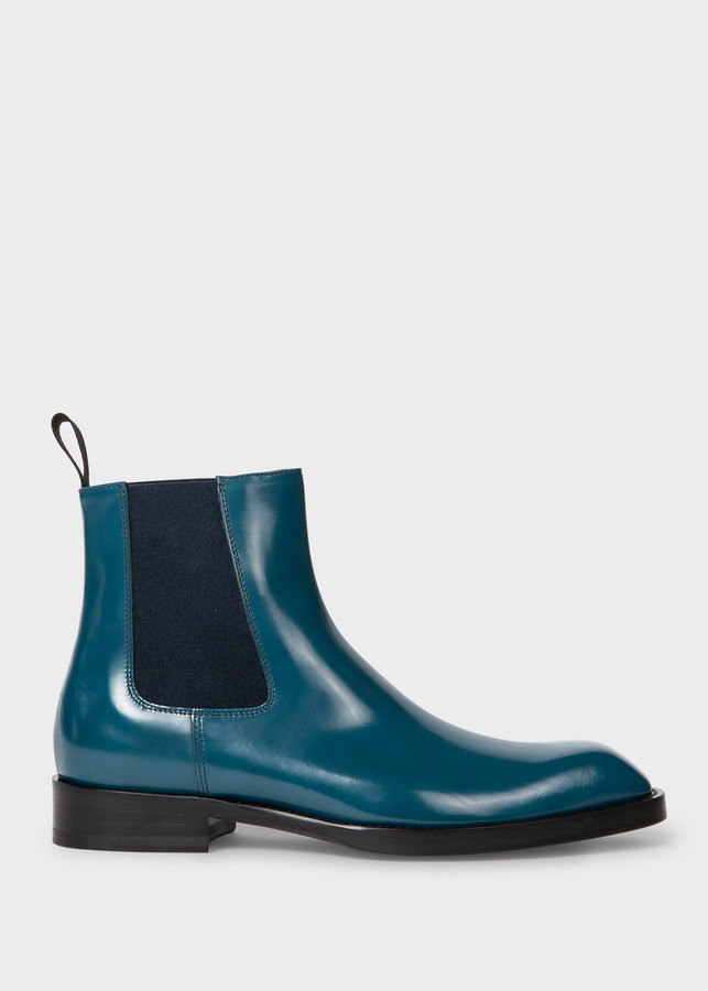 Paul Smith Women's Petrol Blue Leather 'Stealth' Chelsea Boots