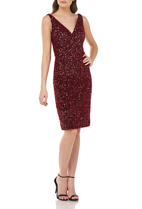 Carmen Marc Valvo Crunchy Sequin V-Neck Sleeveless Sheath Dress