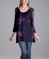 Lily Purple Butterfly Scoop Neck Tunic - Plus Too