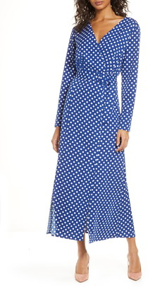 1901 Polka Dot Long Sleeve Maxi Dress