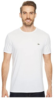 Lacoste Short Sleeve Pima Crew Neck Tee (White) Men's T Shirt