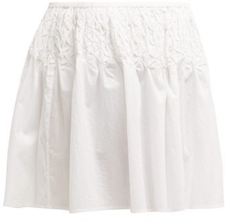 Merlette New York Eden Smocked Cotton-lawn Mini Skirt - White