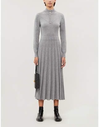 Claudie Pierlot High-neck pleated knitted midi dress