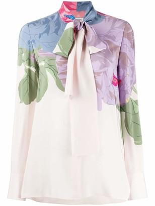 Valentino Tie Neck Silk Floral Print Top