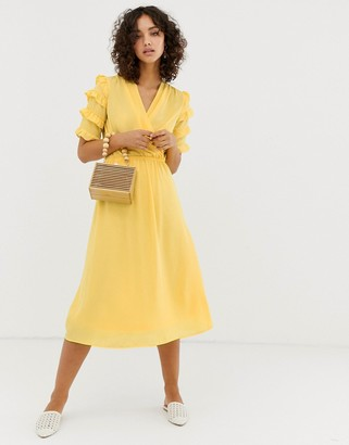 Vero Moda aware micro ruffle sleeve midi dress-Yellow