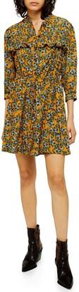Topshop Floral Print Pleat Mini Dress