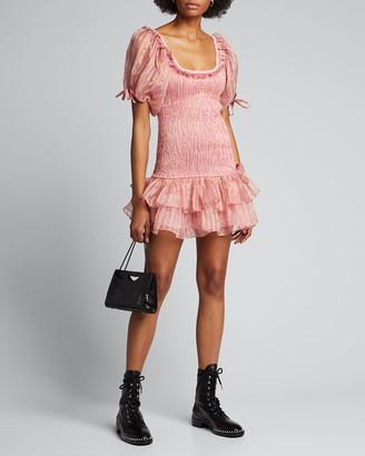 LoveShackFancy Violet Smocked Metallic Mini Dress