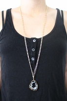 Heather Gardner Double Chain Gold Wrapped Geode Slice Necklace