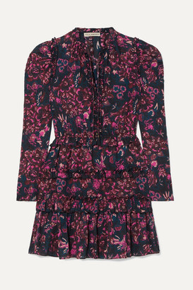 Ulla Johnson Prissa Tiered Floral-print Cotton-blend Voile Mini Dress - Dark purple