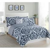 Studio 17 Anson Damask Navy/White 5-Piece Full/Queen Comforter Set