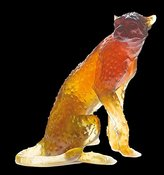 Daum Glass - Animal Sculptures Collection - Amber Sitted Cheetah