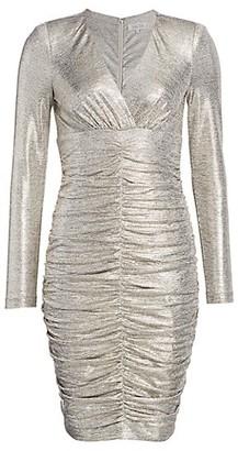 Teri Jon by Rickie Freeman Ruched Long-Sleeve Metallic Sheath Dress
