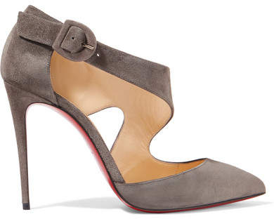 Christian Louboutin Sharpeta 100 Suede Pumps - Gray