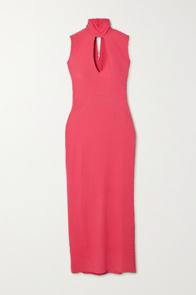 The Line By K Quincy Belted Cutout Cloque Turtleneck Midi Dress - Pink