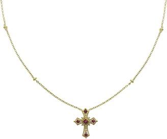 Judith Ripka 14K Gold Ruby & Diamond Cross Necklace