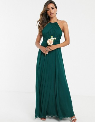 Asos Design DESIGN Bridesmaid pinny maxi dress with ruched bodice-Green